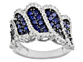 Blue And White Cubic Zirconia Rhodium Over Silver Ring 2.78ctw