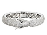 Black And White Cubic Zirconia Rhodium Over Silver Panther Bracelet 16.21ctw