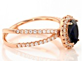 Blue And White Cubic Zirconia 18k Rose Gold Over Sterling Silver Ring 1.87ctw