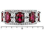 Red And White Cubic Zirconia Rhodium Over Silver Ring 5.89ctw