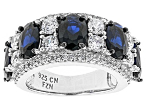 Blue And White Cubic Zirconia Rhodium Over Silver Ring 5.89ctw