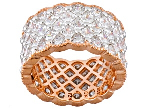 White Cubic Zirconia 18k Rose Gold Over Sterling Silver Ring 13.07ctw