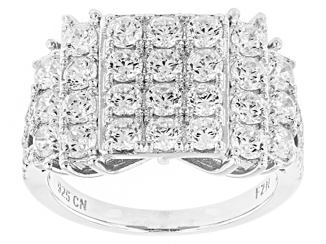 White Cubic Zirconia Rhodium Over Silver Ring 3.90ctw