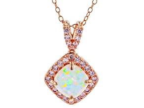 Synthetic White Opal/Pink Cubic Zirconia 18k Rose Gold Over Silver Pendant W/ Chain 1.54ctw