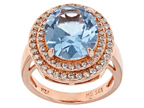 Blue And White Cubic Zirconia 18k Rg Over Silver Ring 5.62ctw
