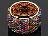 Blue/Brown/Green/Red/Orange Cubic Zirconia 18k Rose Gold And Black Rhodium Over Silver Ring