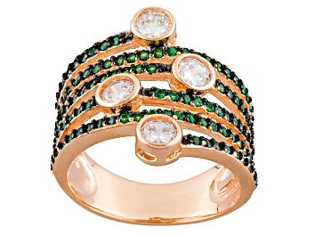 Picture of Green And White Cubic Zirconia 18k Rg Over Silver Ring 2.49ctw