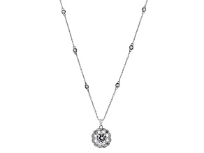 White Cubic Zirconia Rhodium Over Silver Pendant With Chain 5.45ctw