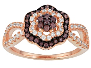 Brown And White Cubic Zirconia 18k Rose Gold Over Sterling Silver Ring .82ctw