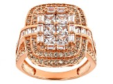 Brown And White Cubic Zirconia 18k Rose Gold Over Sterling Silver Ring 3.50ctw