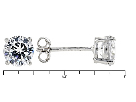 White Cubic Zirconia Rhodium Over Silver Ring And Earrings 5.71ctw