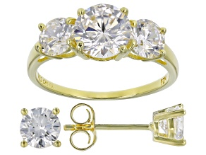 White Cubic Zirconia 18K Yellow Gold Over Silver Ring And Earrings 5.71ctw