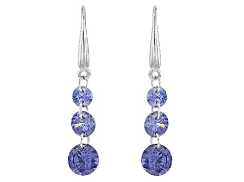 Blue/White/Yellow/Pink Cubic Zirconia Rhodium Over Silver Earrings 20.15ctw