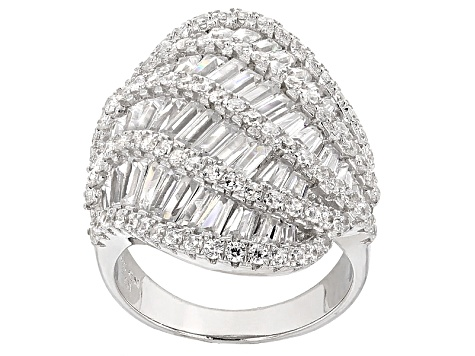 White Cubic Zirconia Rhodium Over Silver Ring 9.59ctw