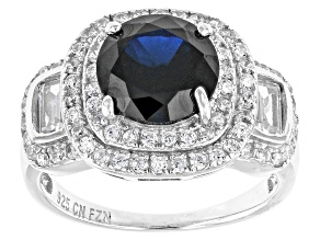 Blue And White Cubic Zirconia Rhodium Over Silver Ring 3.28ctw
