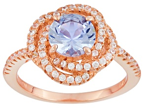 Blue And White Cubic Zirconia 18k Rg Over Silver Ring 1.88ctw