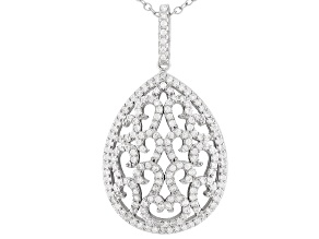 White Cubic Zirconia Rhodium Over Silver Pendant With Chain 1.58ctw
