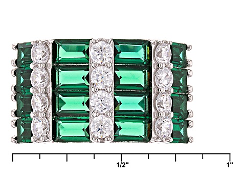 Green And White Cubic Zirconia Rhodium Over Sterling Silver Ring 6.1ctw