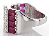 Red And White Cubic Zirconia Rhodium Over Silver Ring 6.1ctw
