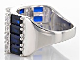 Blue And White Cubic Zirconia Rhodium Over Sterling Silver Ring 6.1ctw