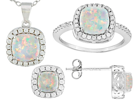White Synthetic Opal And White Cubic Zirconia Rhodium Over Silver Jewelry Set 1.58ctw