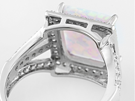 White Synthetic Opal And White Cubic Zirconia Rhodium Over Silver Ring 2.34ctw