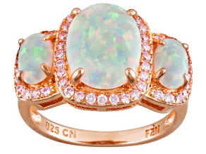 Opal And White Cubic Zirconia 18k Rose Gold Over Silver Ring 2.00ctw