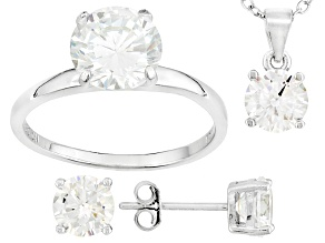 White Cubic Zirconia Rhodium Over Sterling Silver Jewelry Set 7.36ctw