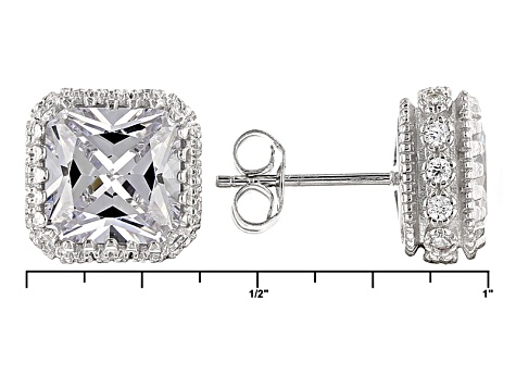 White Cubic Zirconia Rhodium Over Sterling Silver Earrings 8.83ctw