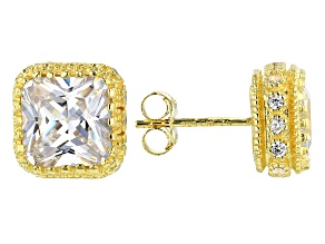 White Cubic Zirconia 18K Yellow Gold Over Sterling Silver Earrings 8.83ctw