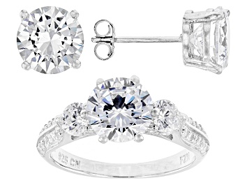 Picture of White Cubic Zirconia Rhodium Over Silver Earrings And Ring 10.94ctw