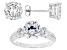 White Cubic Zirconia Rhodium Over Silver Earrings And Ring 10.94ctw