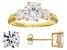 White Cubic Zirconia 18K Yellow Gold Over Silver Earrings And Ring 10.94ctw