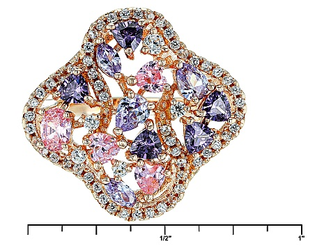 Purple, Pink And White Cubic Zirconia 18k Rose Gold Over Sterling Silver Ring 3.55ctw