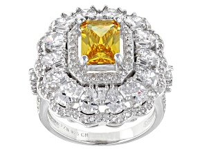 Yellow And White Cubic Zirconia Rhodium Over Sterling Silver Ring 8.84ctw