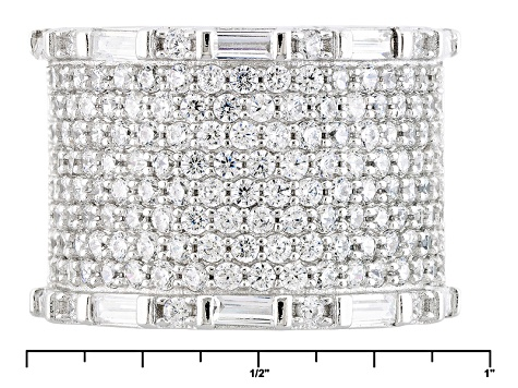 White Cubic Zirconia Rhodium Over Sterling Silver Ring 4.39ctw
