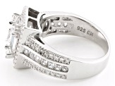 White Cubic Zirconia Rhodium Over Sterling Silver Ring 3.27ctw