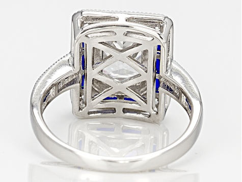 Blue And White Cubic Zirconia Rhodium Over Sterling Silver Ring 5.84ctw