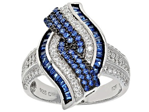 Blue And White Cubic Zirconia Rhodium Over Sterling Silver Ring 1.81ctw