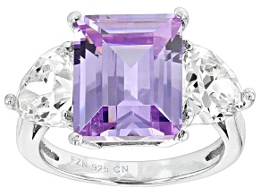 Purple And White Cubic Zirconia Rhodium Over Sterling Silver Ring 12.00ctw
