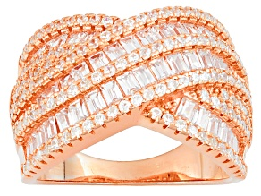 White Cubic Zirconia 18k Rose Gold Over Silver Ring 4.02ctw