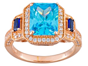 Blue And White Cubic Zirconia 18k Rose Gold Over Sterling Silver Ring 7.31ctw