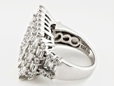 White Cubic Zirconia Rhodium Over Silver Ring 7.28ctw