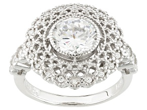White Cubic Zirconia Rhodium Over Sterling Silver Ring 2.48ctw