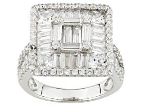 White Cubic Zirconia Rhodium Over Silver Ring 5.16ctw