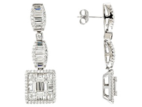 White Cubic Zirconia Rhodium Over Silver Earrings 8.87ctw