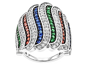Blue Red White And Green Cubic Zirconia Rhodium Over Sterling Silver Ring 3.56ctw