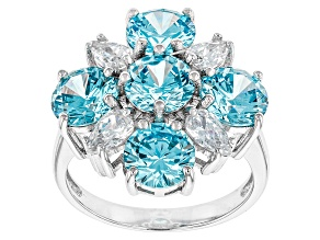 Blue And White Cubic Zirconia Rhodium Over Silver Ring 8.41ctw