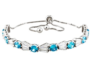 Blue And White Cubic Zirconia Rhodium Over Silver Bracelet 12.08ctw