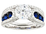 Blue And White Cubic Zirconia Rhodium Over Silver Ring With Band 3.68ctw
